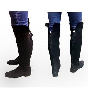 Zara Suede Over The Knee Boot Tassel Back Zip
